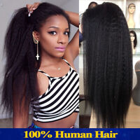 Light Yaki Kinky Straight Lace Front Wigs Indian Remy Human Hair Wig Black Women