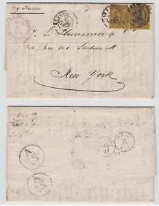"""FRANCE 1879 Sc 94a TWO SINGLES ON ELS' """"LE HAVRE"""" Cds by STEAMER """"FRISIA"""" TO USA"""