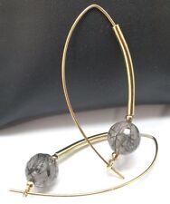 Gorgeous Vermeil Tourmalinated Quartz Threader Earrings.