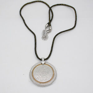Chico's jewelry long rope chain polished circle pendant cut crystals for women
