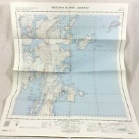 1963 Vintage Military Map of The Shetland Islands Scotland Lerwick Whalsay