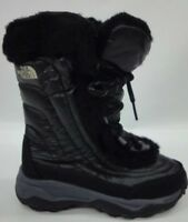 The North Face Girls Youth Nuptse Faux Fur II Boots In Black Size 12 BNIB