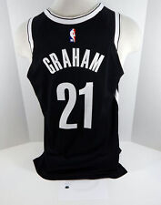 2018-19 Brooklyn Nets Treveon Graham #21 Game Used Black Jersey vs Spurs 6 pts