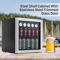 62 Can 1.6 Cu.Ft. Beverage Cooler & Refrigerator Mini Beer Fridge GlassDoor