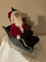 """Byers' Choice  Santa. 1995 In A Green Sleigh W Christmas Tree &Gifts-Large 11"""""""