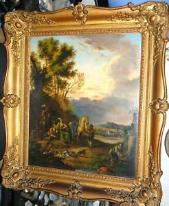 """18th/C Landscape """"Hunting Party"""" Att. to John Wootton (1682-1764)"""