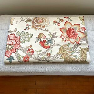 P Kaufmann Fabrics Upholstery Drapery Fabric Large Coral Beige Floral Print BTY
