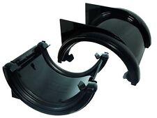NEW packet 24 Half Round Union Brackets Downpipe Bracket Black 112Mm