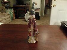 "8"" Tall Resin Snowman W/ Squirrel Figurine #3473"