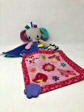 Taggies Elephant Lovey Security Blanket Plush Set Bright Start Set of Two