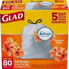 Glad Tall Kitchen Drawstring Trash Bags - OdorShield 13 Gallon White Trash Bag,