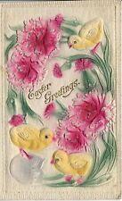 Antique Postcard, Easter Greetings, Heavily Flocked Embossed, Printed in Germany