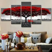 5pcs Moderne Rouge Arbre Toile Huile Peinture Mural Art Décor Maison Picture +A