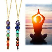 Natural Reiki Healing Gemstone Yoga Pendant Necklace 7 Chakra Beads Jewelry