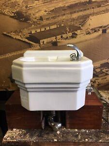 60's Standard Porcelain Drinking Water Fountain Bubbler Wall Mount Art Deco