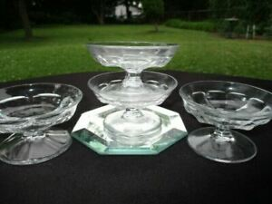 """4 COLONIAL HEISEY ELEGANT DEPRESSION GLASS SMALL SAUCE DIP DISHES 1.5"""" X 3"""" WIDE"""