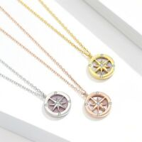 Compass Sun Moon Wheel Pendant Necklace 925 Sterling Silver Chain Ocean Gift New