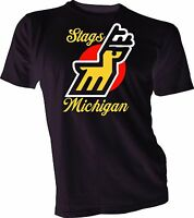 MICHIGAN STAGS DEFUNCT WHA HOCKEY VINTAGE STYLE  T-SHIRT Handmade jersey mens