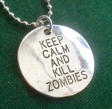 Keep Calm and Kill Zombies Disco Ball Collana Con Pendente Catena SILVER PLATE