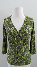 INC INternational Concepts Top S P Green Black Slinky Travel Knit 3/4 Sleeve