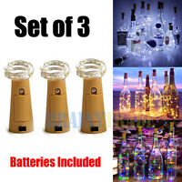 3 Pack 15 LED Wine Bottle Light Copper Cork Wire String Fairy Light Colorful