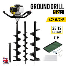 52cc Petrol Earth Auger Fence Post Hole Borer Ground Drill + 3 Bits + Extension