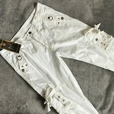 Cargo Pantalon Multipoche Sac Wang Cheng Sz 38 x 34 Blanc Patineuse Streetwear