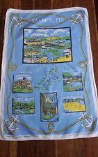Vintage linen tea towel Falmouth Cornwall Old Bleach made in England