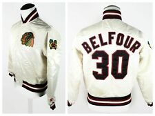 🔴 Vintage Starter Ed Belfour Blackhawks Jacket 30 Beige Cream Nylon Size Medium