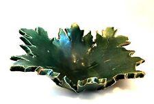 Green Glazed Leaf Bowl Heavy Clay Pottery Decorative Unique Dish 11 x 9 inches