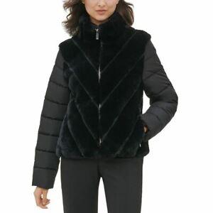 CALVIN KLEIN NEW Women's Black Mixed-media Faux-fur Puffer Jacket Top L TEDO