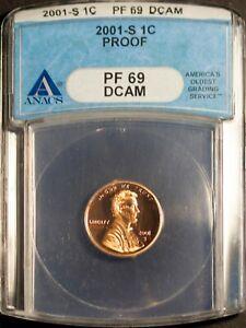 2001-S 1C Lincoln Head Wheat Cent PF 69 DCAM ANACS 1505092 + Bonus
