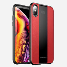 For iPhone XS Shockproof SLIM Luxury PU Leather Ultra Thin Rugged RED Case Cover