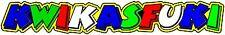 "Valentino Rossi style text - "" KWIKASFUKI ""  x2 stickers / decals - NOT KAWASAKI"