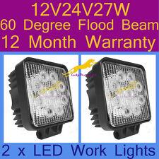 2 x LED Work Lights 60 Degree 12V/24V/27W For Truck,Forklift 1 yr warranty S27