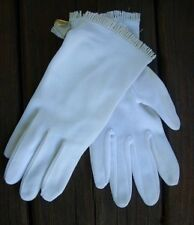 KAYSER 100% Nylon White Gloves One Size Fits All~Fringe Accent~NEW OLD STOCK
