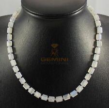 Mondstein-Kette Regenbogen-Mondstein mit Perle Halskette für Damen 45,5 cm