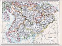 1912 MAP ~ SCOTLAND SOUTH ~ AYR DUMFRIES EDINBURUGH WIGTOWN ETC