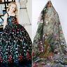 1 Yard Lace Embroidery Flower Mesh Fabric Wedding Bridal Dress Veil Tulle Gauze