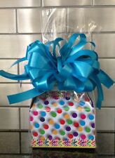 Polka Dots Candy Gift Box-Basket Wrapped With Red Bow & Card