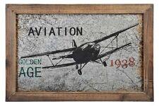 Cadre mural en bois et plaque métal Aviator avion 1938