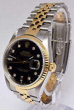 Rolex Datejust 18k Gold & Stainless Steel & Diamond Mens Watch E 16233