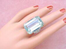 ART DECO 45 CARAT AQUAMARINE .32ctw DIAMOND PLATINUM BIG STATEMENT COCKTAIL RING