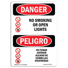 Osha Danger - No Smoking Or Open Lights Bilingual | Heavy Duty Sign or Label