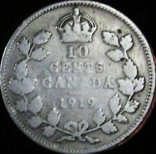 1919 Canada Silver 10 Cents - KM# 23 - VG- (Good+) - JG