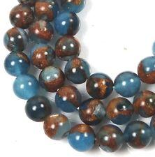 "6mm Aquamarine Quartz with Pyrite / Gold brown Vein Round Beads 15.5"""