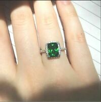 3.4Ct Cushion Cut Green Emerald Halo Engagement Ring Solid 18K White Gold Finish