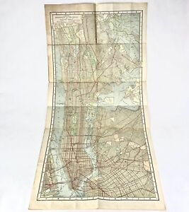 1914 HAMMONDS GUIDE MAP NEW YORK CITY Manhattan & Bronx W/ Subway Street Index