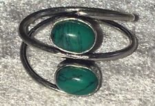 Beautiful Handmade Silver Plated Alloy Double Stone Green Turquoise Ring, Size N