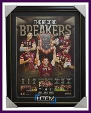 Queensland Signed Record Breakers Print Framed Greg Inglis Johnathan Thurston